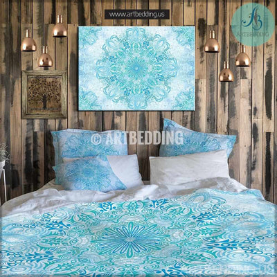 Bohemian bedding, Bohemian queen / king / full / twin duvet cover, blue and green balance mandala duvet cover set, Boho duvet cover, boho bedding Bedding set