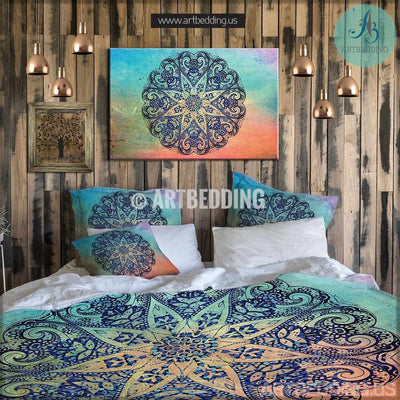 Bohemian bedding, Bohemian queen / king / full / twin duvet cover, Deco sacred circle mandala duvet cover set, Boho duvet cover, boho bedding Bedding set