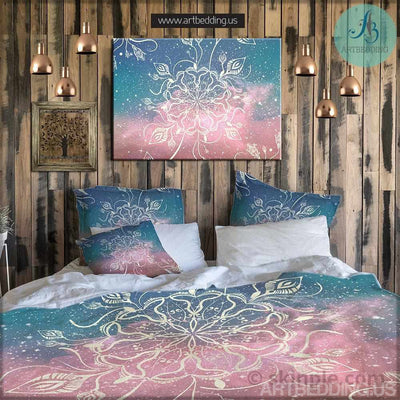Bohemian bedding, Boho chic Mandala duvet cover set, cosmic mandala bedding set Bedding set