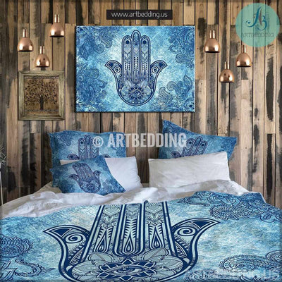 Bohemian bedding, Boho Hand of Fatima duvet cover set, Hamsa hand amulet bedding Bedding set