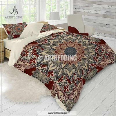 Bohemian bedding, Burgundy and dark teal Mandala duvet cover set, red mandala comforter set, Boho bedding, mandala bedspread Bedding set