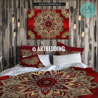 Bohemian bedding, Cherry red and gold Mandala duvet cover set, Deco mandala quilt cover set, Boho bedding, mandala bedspread Bedding set
