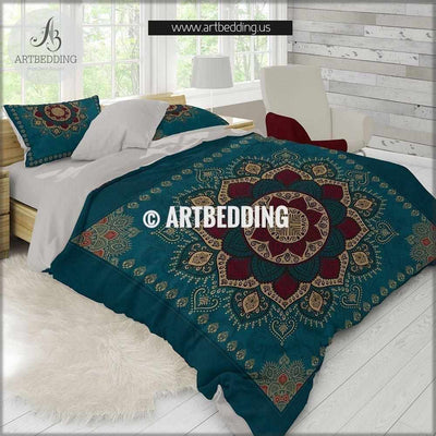 Bohemian bedding, Dark teal & gold Mandala duvet cover set, Boho duvet bedding set, Hippie bedroom, artbedding art Bedding set