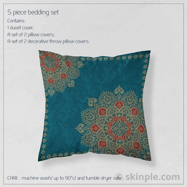 Bohemian Bedding Dark Teal Gold Mandala Duvet Cover Set - Dark teal bedding