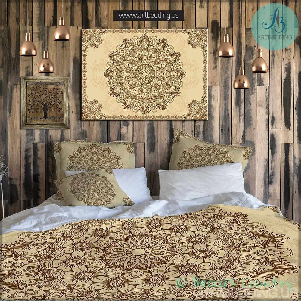 Bohemian Bedding Indian Mehndi Henna Tattoo Style Mandala Duvet Cover Artbedding