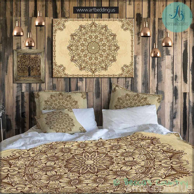 Bohemian bedding, Indian mehndi henna tattoo style mandala duvet cover set, Bohochic vintage mandala duvet cover set, gold mandala bedspread Bedding set