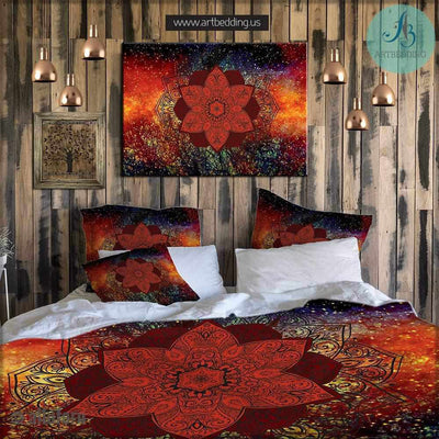 Bohemian bedding, Mandala duvet cover set, Galaxy mandala bedding, Bohochic bedroom interior, artbedding art Bedding set