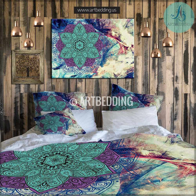 BOHEMIAN BEDDING, MANDALA DUVET COVER SET, SACRED BALANCE LOTUS MANDALA BEDDING, BOHO CHIC BEDROOM INTERIOR Bedding set