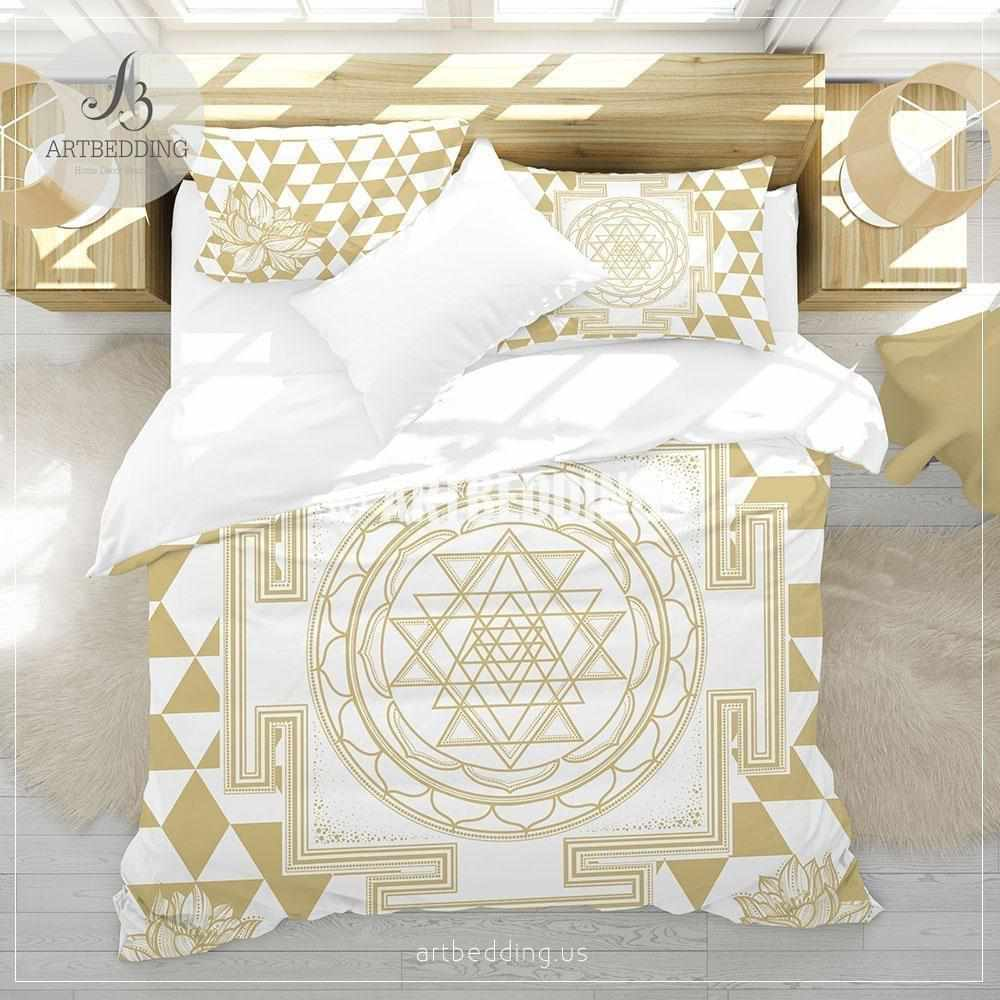 Bohemian bedding, Sacred yantra amulet Flower of Life duvet cover set, Elephant spirit seed of life comforter set, spiritual bedspread Bedding set