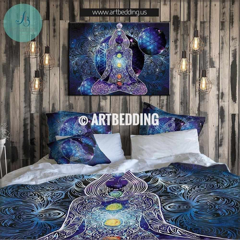 Bohemian bedding, Spiritual chakra duvet cover set, cosmic Flower of life  bedding set, sacred design meditation comforter set, spiritual art bedroom