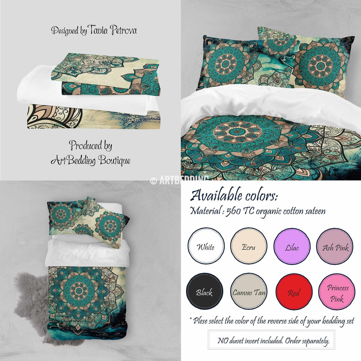 Bohemian bedding, Stunning Deco Mandala duvet bedding set, Vintage teal & gold boho duvet cover set, Teal mandala bedding, boho bedspread, artbedding art Bedding set