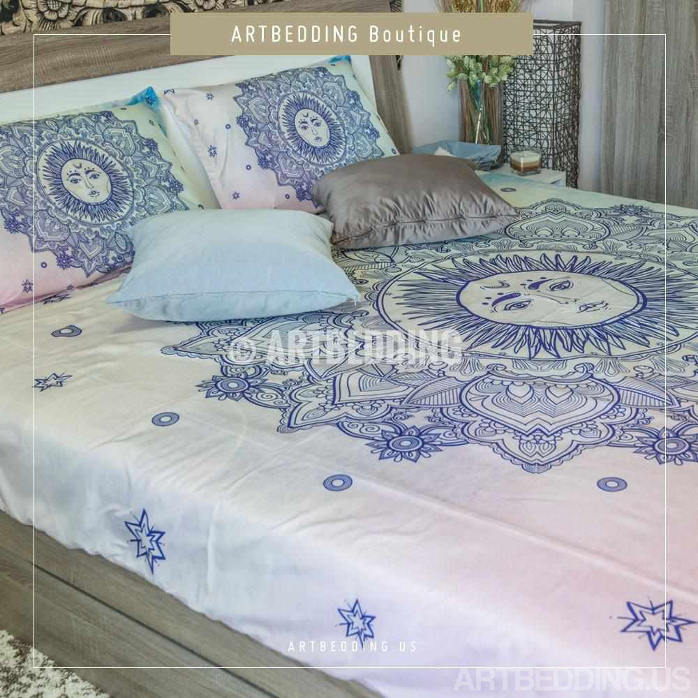 ... Bohemian Bedding, Sun Mandala Bedding Set, Bohochic Rustic Bedroom,  Bohemian Vintage Decor Bedding ...