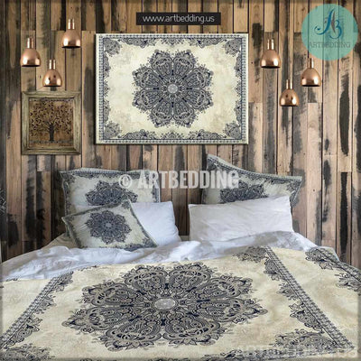 Bohemian bedding, Vintage lace Mandala duvet cover set, Bohochic bedroom interior, bohemian vintage decor Bedding set