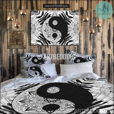 Bohemian bedding, Yin yang duvet cover set, Boho yin yang bedding Bedding set
