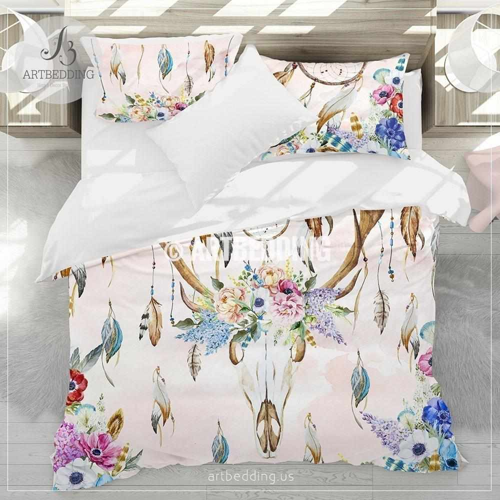 Bohemian dreamcatcher bedding, Watercolor deer skull wildflowers duvet bedding set, Boho feather totem bedding, Deer skull dremacatcher comforter set Bedding set