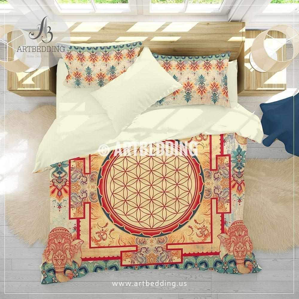 Bohemian elephant bedding, Sacred yantra amulet Flower of Life duvet cover set, Elephant spirit seed of life comforter set, spiritual bedspread Bedding set
