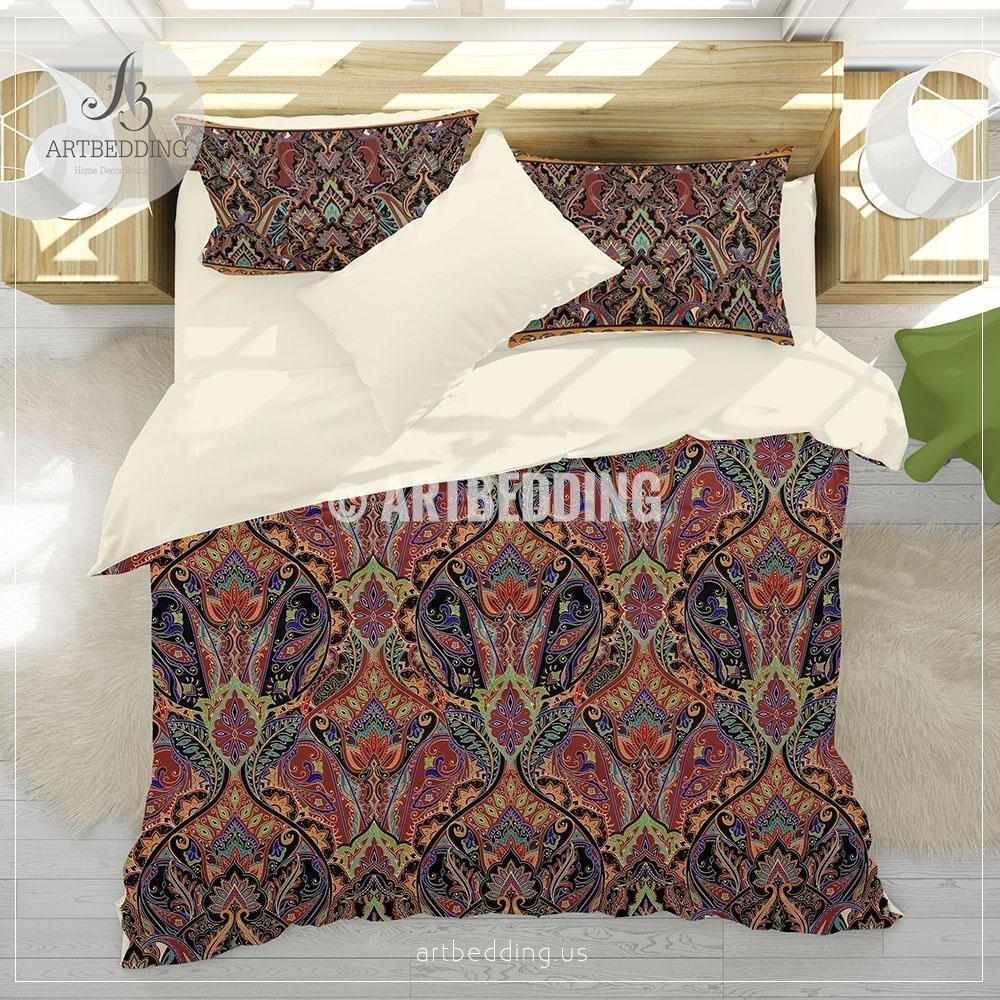 Bohemian Indian burgundy red paisley bedding, Red Paisley duvet cover set, Traditional India boho paisley comforter set, bohemian bedroom decor Bedding set