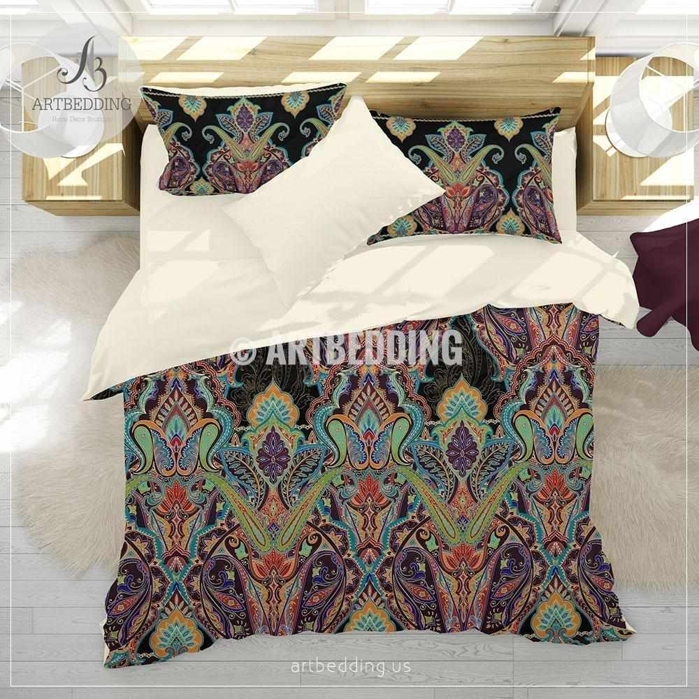 Bohemian Indian paisley bedding, Paisley duvet cover set, Traditional India boho paisley comforter set, bohemian bedroom decor Bedding set