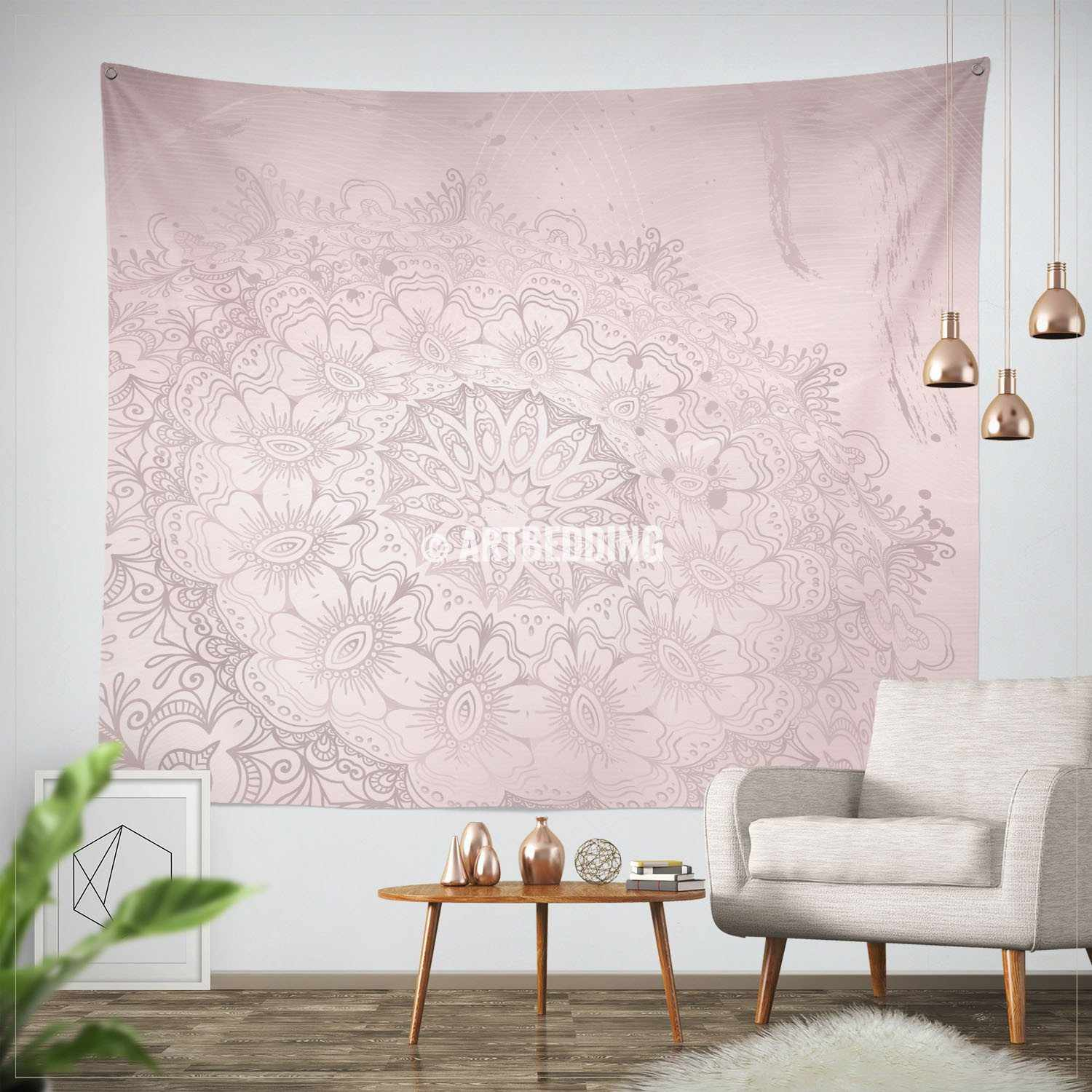 Exceptionnel ... Bohemian TAPESTRY, Ash Pink U0026 Gray Mehendi Henna Tattoo Style Wall Art  Print, Boho ...