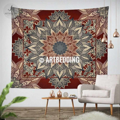 Bohemian TAPESTRY,  Burgundy red and dark teal mandala Wall hanging, Burgundy Red and beige Mandala Wall Decor, Mandala Indie Tapestry, artbedding wall art Tapestry