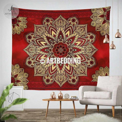 Bohemian TAPESTRY, Cherry Red & Metallic gold vintage mandala Wall hanging, Boho Mandala Wall Decor, Mandala Indie Tapestry, artbedding wall art Tapestry