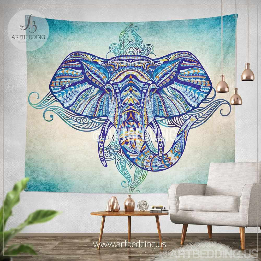 Bohemian tapestry elephant wall tapestry hippie tapestry for Elephant wall mural