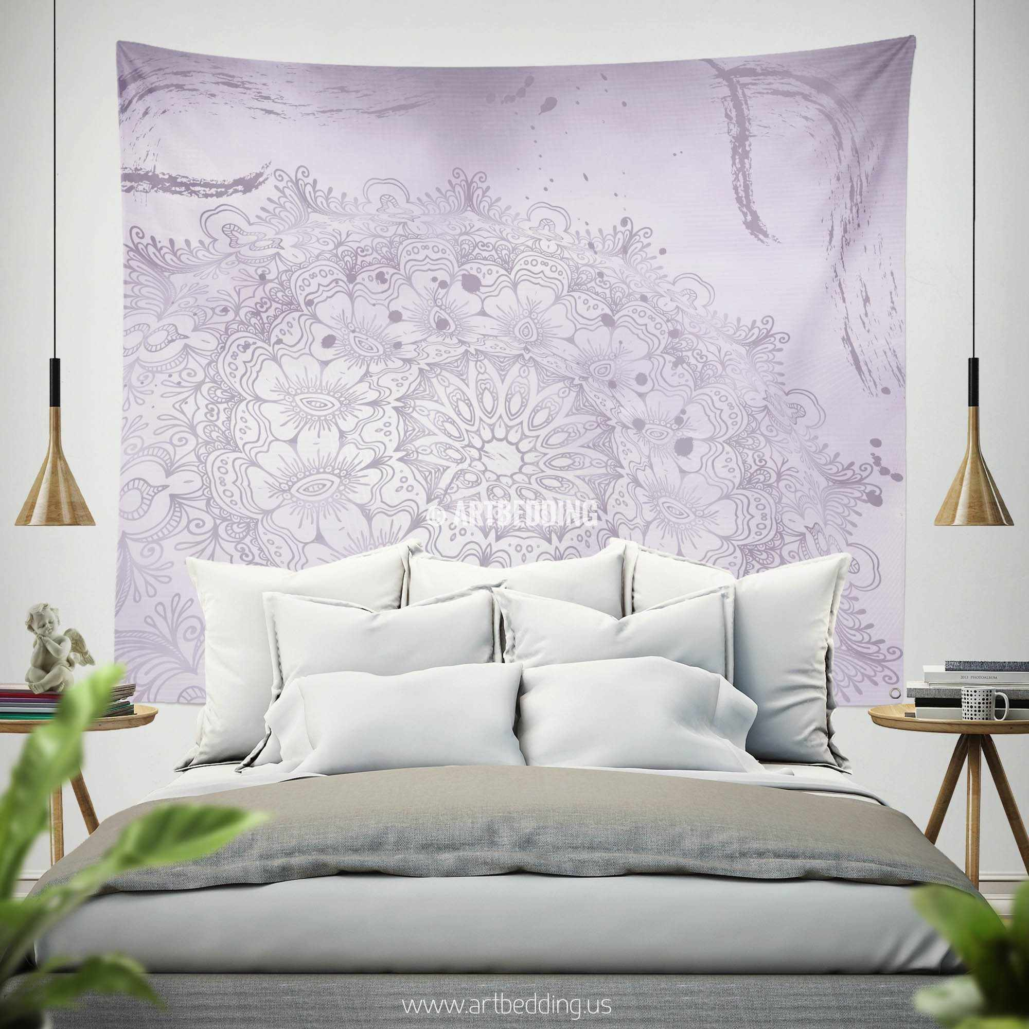 ... Bohemian TAPESTRY, Lavender Purple Mehendi Henna Tattoo Style Wall Art  Print, Boho Wall Decor ...