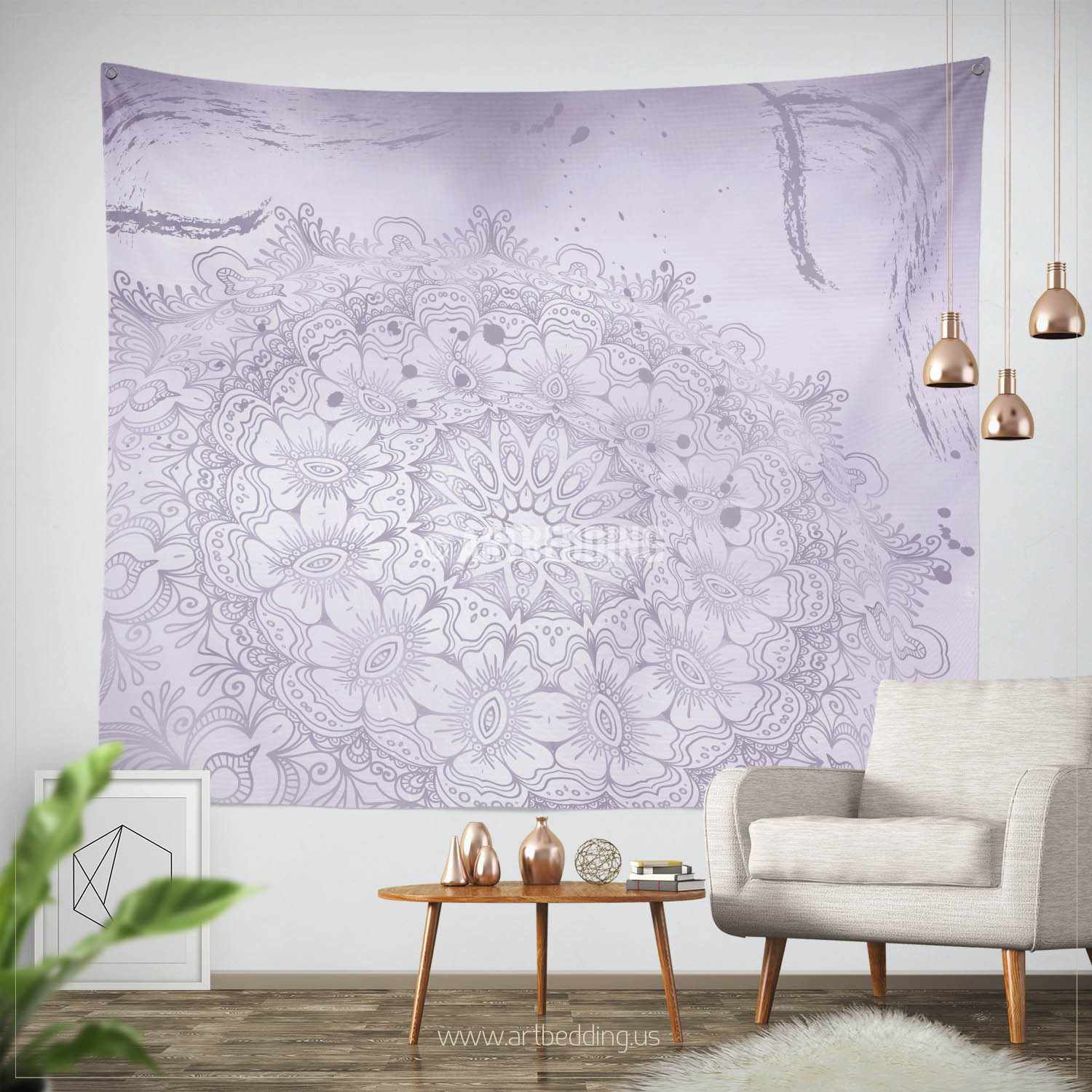 Lavender Wall Art bohemian tapestry, lavender purple mehendi henna tattoo style wall