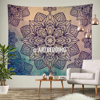 Bohemian Tapestry, Lotus Mandala tapestry wall hanging, bohemian decor, bohochic vintage decor Tapestry