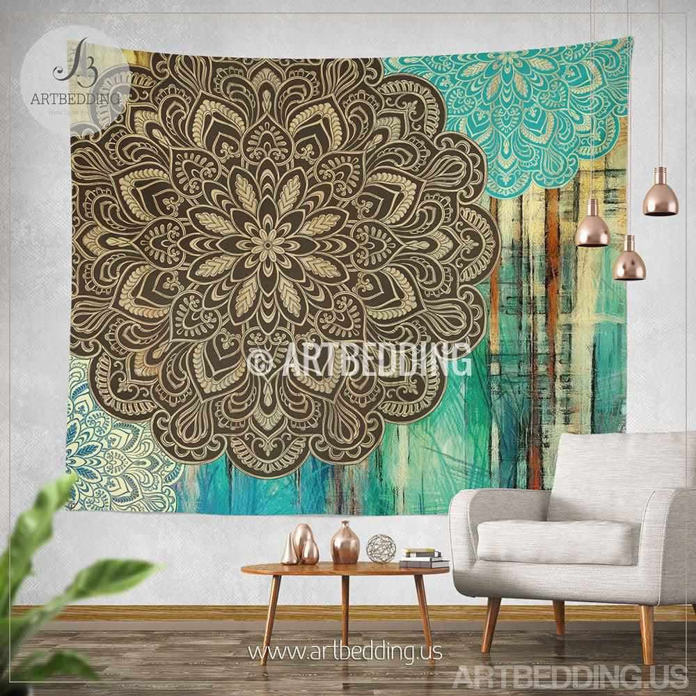 Bohemian Tapestry Wall Hanging boho tapestry, light blue and green mandala tapestry wall hanging