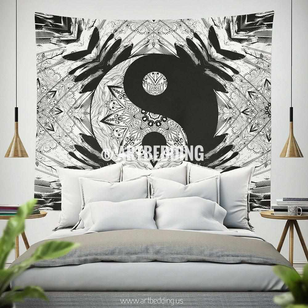 Bohemian TAPESTRY, Ying Yang black white mandala Wall Art Print, Boho Wall Decor,Balance Mandala art Tapestry, artbedding wall art Tapestry