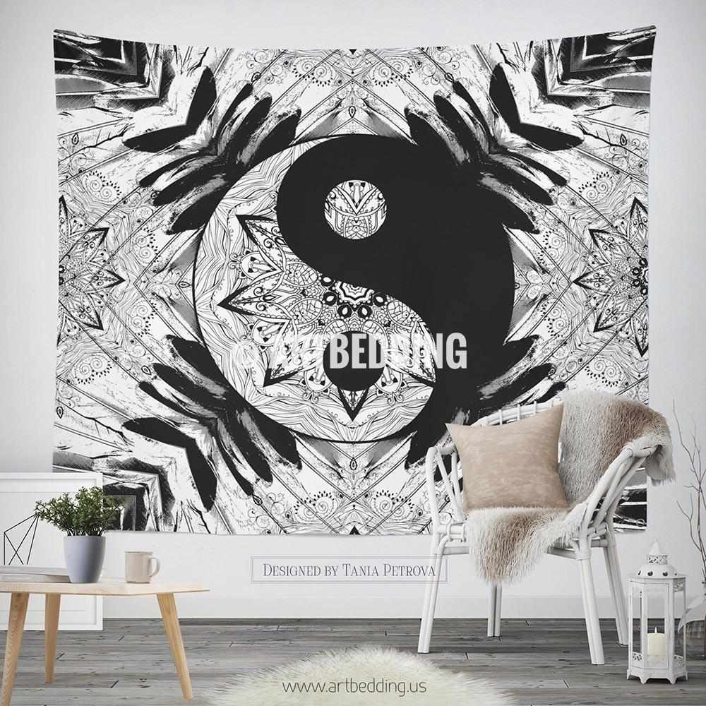 Black Wall Decor Enchanting Bohemian Tapestry Ying Yang Black White Mandala Wall Art Print Inspiration