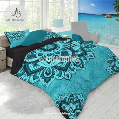 Bohemian teal bedding, Dark teal and turquoise Mandala duvet cover set, teal boho comforter set, Boho bedding, mandala bedspread Bedding set