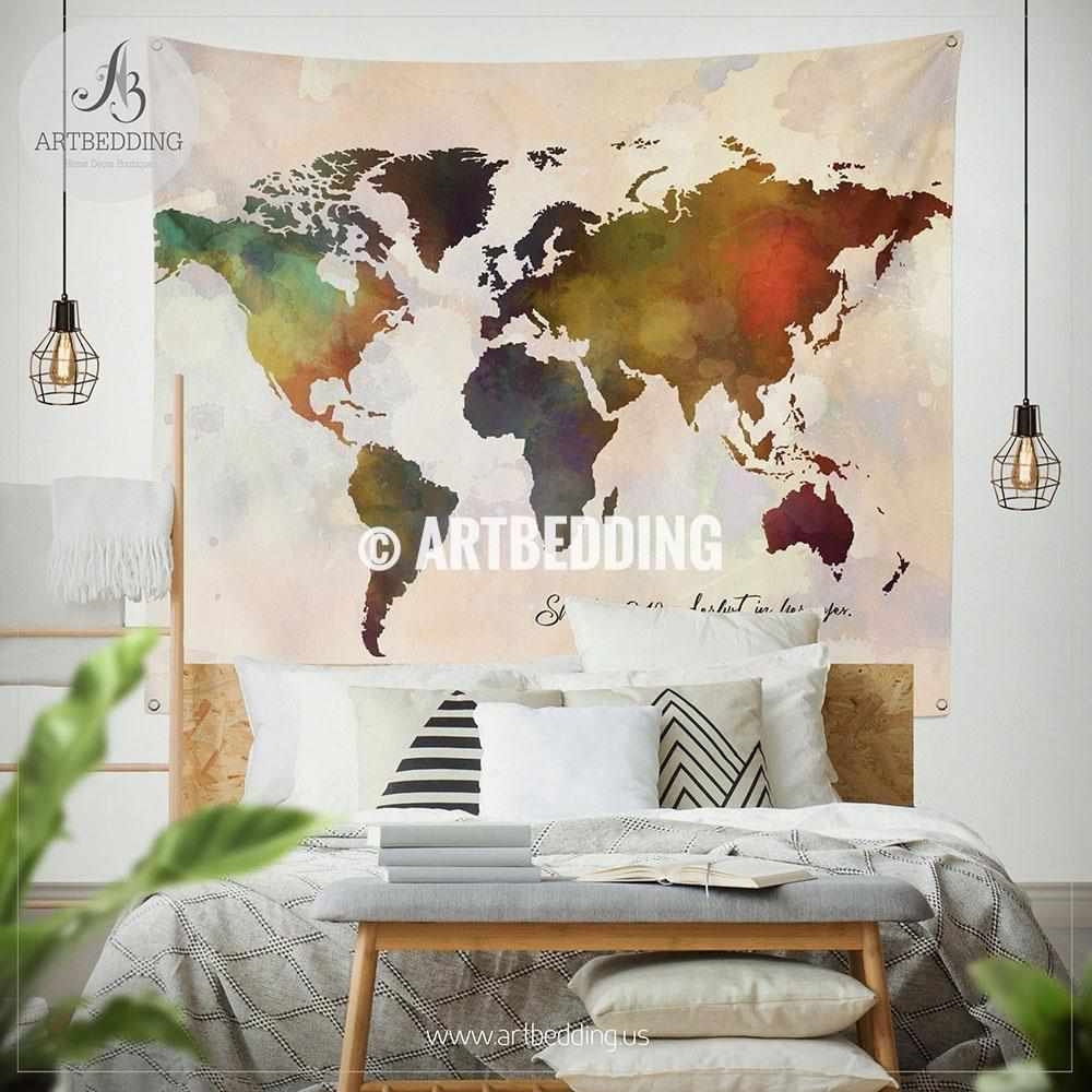 Bohemian watercolor world map Tapestry, Abstract quote world map wall hanging, boho Wanderlust wall tapestries, boho wall decor Tapestry