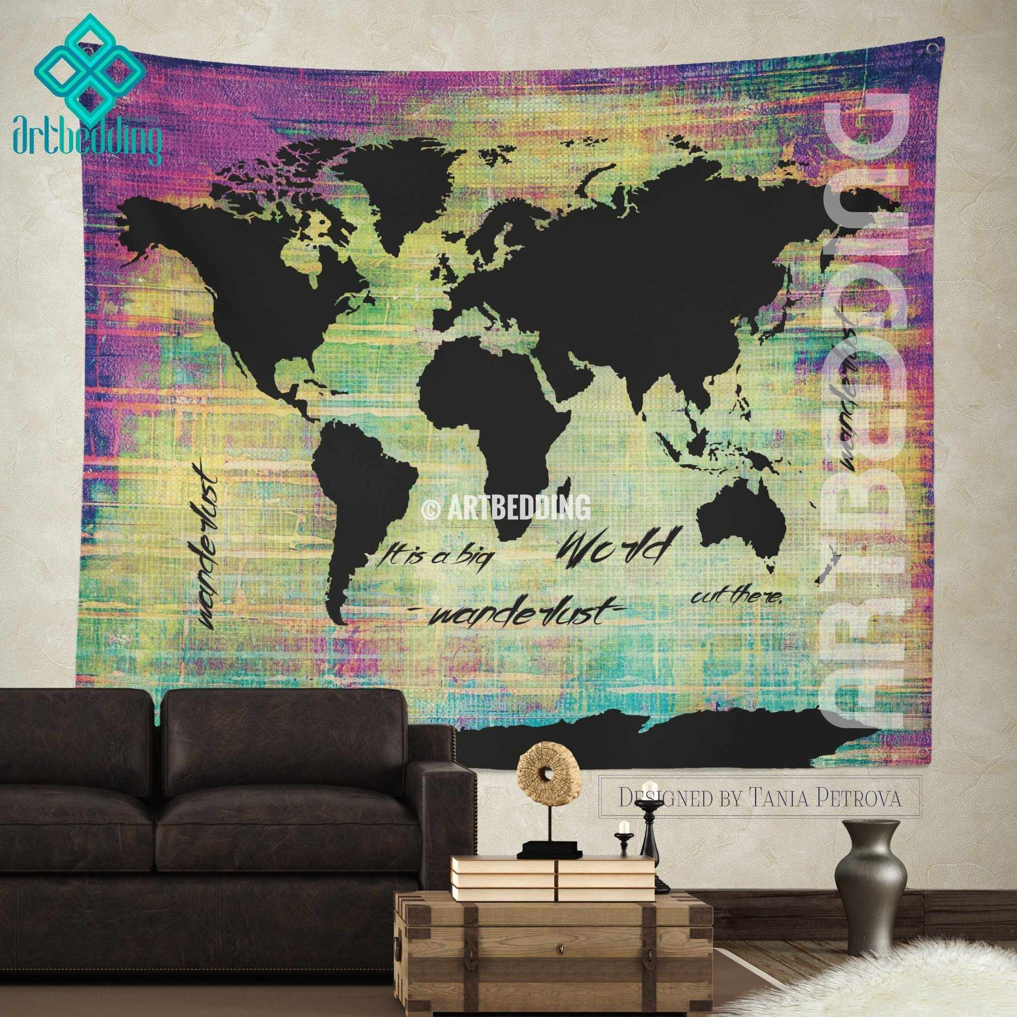 Bohemian World Map Watercolor Wall Tapestry Grunge World Map Wall - Big world map for wall