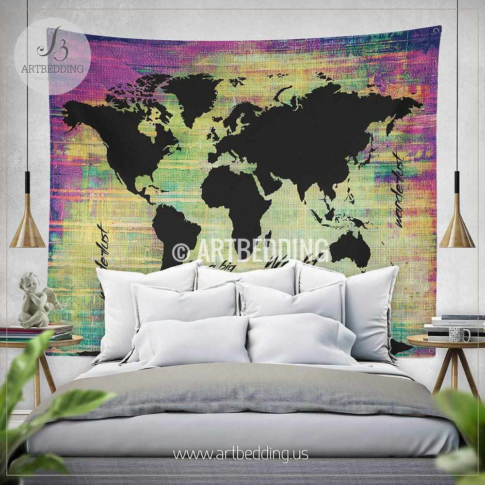Bohemian World map watercolor wall Tapestry, Grunge world map wall tapestry,Hippie tapestry wall hanging, bohemian wall tapestries, Modern watercolor map tapestries, Watercolor grunge bohemian decor Tapestry