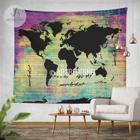 Wall murals wall tapestries canvas wall art wall decor tagged bohemian world map watercolor wall tapestry grunge world map wall tapestryhippie tapestry wall gumiabroncs Gallery