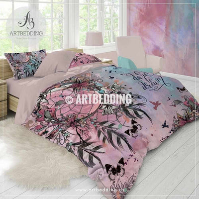 Boho bedding, Dreamcatcher feathers duvet bedding set, Bohemian Dreamcatcher comforter set, Bohochic bedroom Bedding set