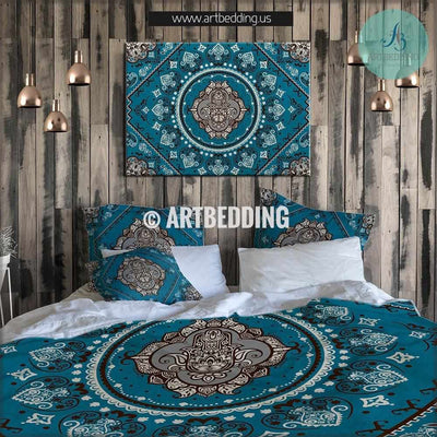 Boho bedding, Good fortune Hamsa Hand talisman duvet cover set, Hand of Fatima duvet cover set, Happyness talisman bedspread Bedding set
