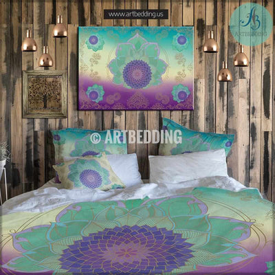 Boho bedding, Lotus Flower duvet bedding set, Sacred Seed of life duvet cover set, Bohemian bedding, boho bedroom decor, artbedding art Bedding set