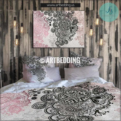 Boho bedding, Pink and black bedding, Rose gold metallic foil effect bedding set, Bohochic bedding set, Indie bohemian duvet cover set, bohemian decor Bedding set