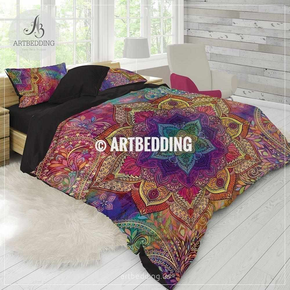 Boho bedding, Rainbow Mandala bedding, Rainbow chakra colors paisley on gold bed sheets, bush bed sheets, peace bed sheets, cross bed sheets, easter bed sheets, crystal bed sheets, indian bed sheets, alchemy bed sheets, majestic bed sheets, man bed sheets, bug bed sheets, moroccan style bed sheets, science bed sheets, circle bed sheets, drawing bed sheets, painting bed sheets, buddha bed sheets, ankh bed sheets, starfish bed sheets, dream bed sheets,