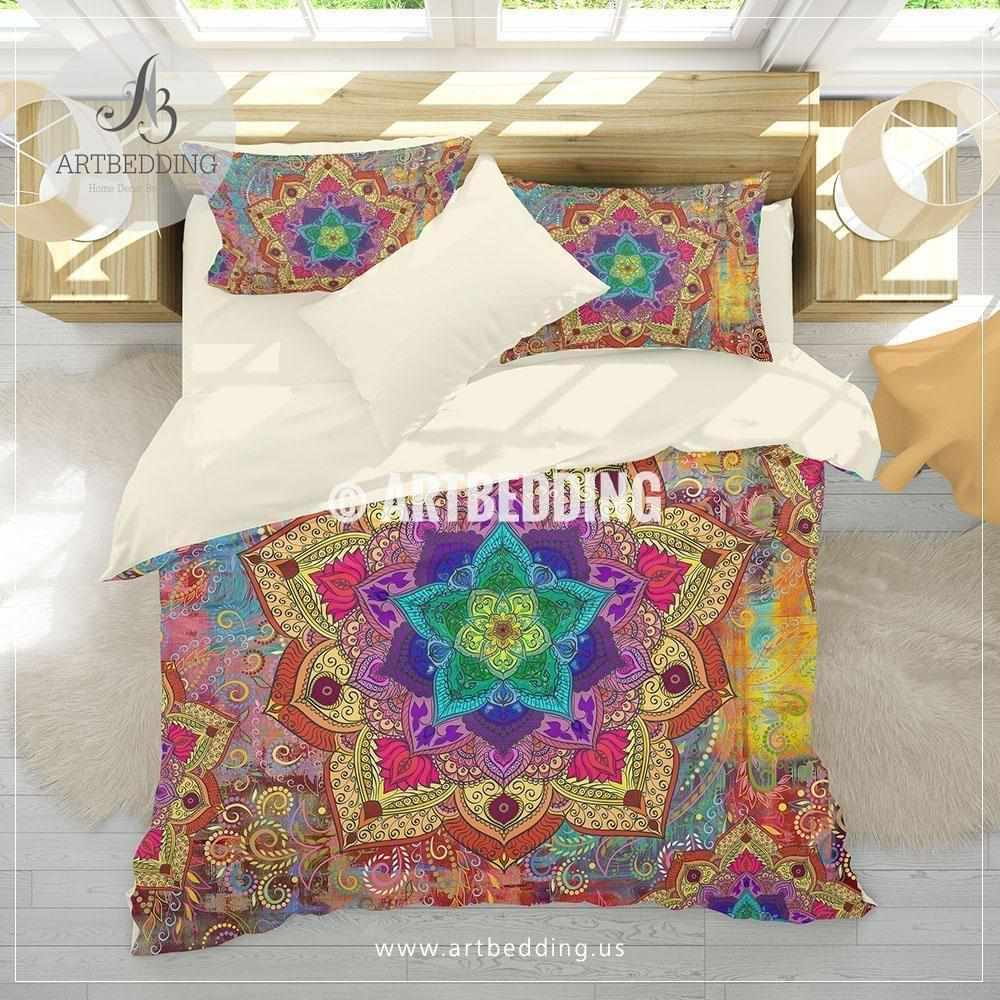 Boho bedding, Rainbow Mandala bedding, Rainbow chakra colors paisley mandala comforter set, bohemian bedroom decor Bedding set