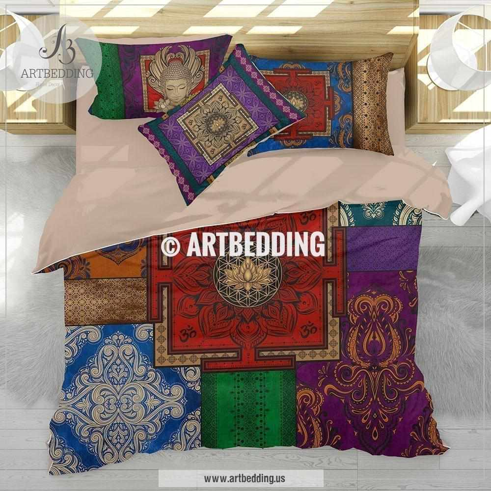 Boho bedding, Sacred yantra Seed of Life duvet cover set, Buddha OM mandala duvet cover set, spiritual design bedroom, bohemian comforter set, sacred art bedding Bedding set