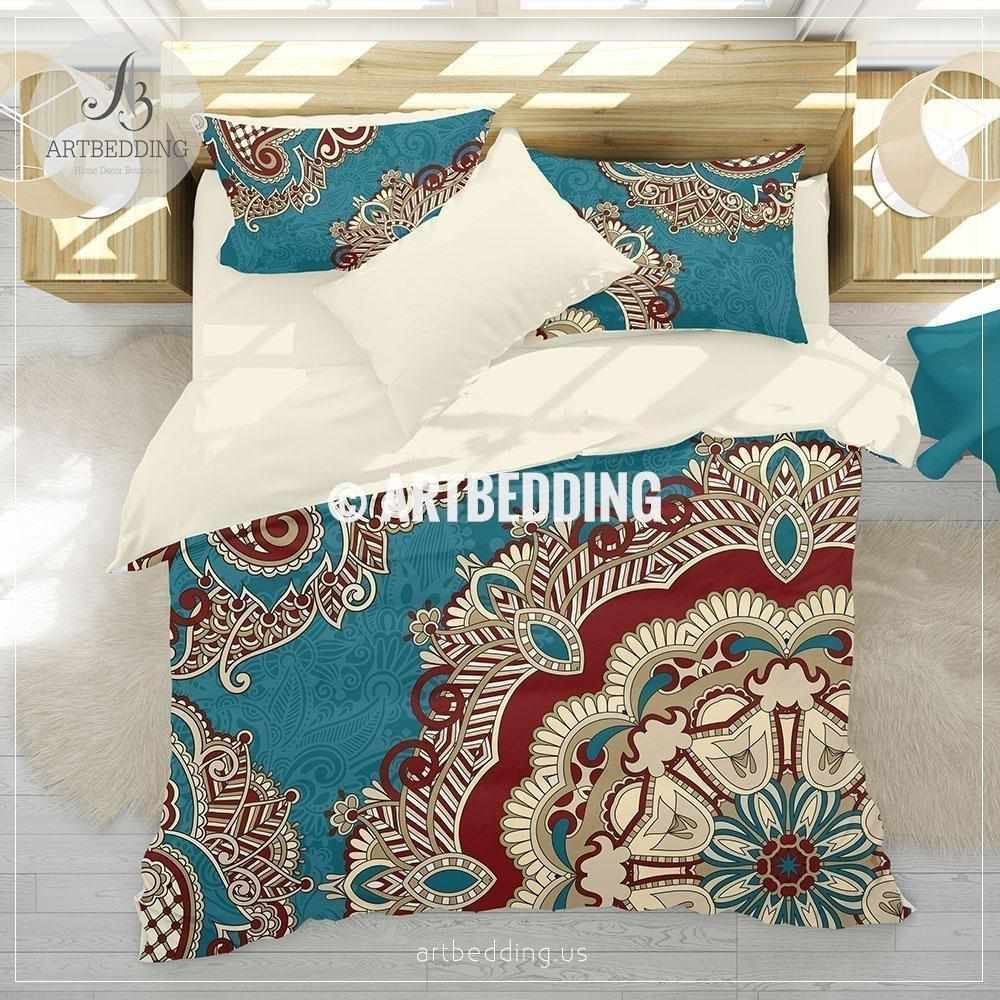 Boho Bedding Teal And Red Mandala Bedding Teal Red
