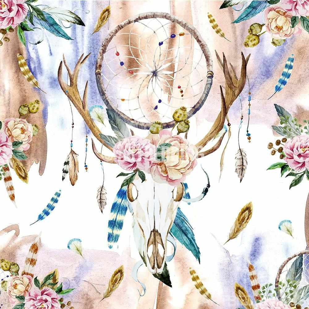 Boho Bedding Watercolor Deer Skull Wildflowers Duvet
