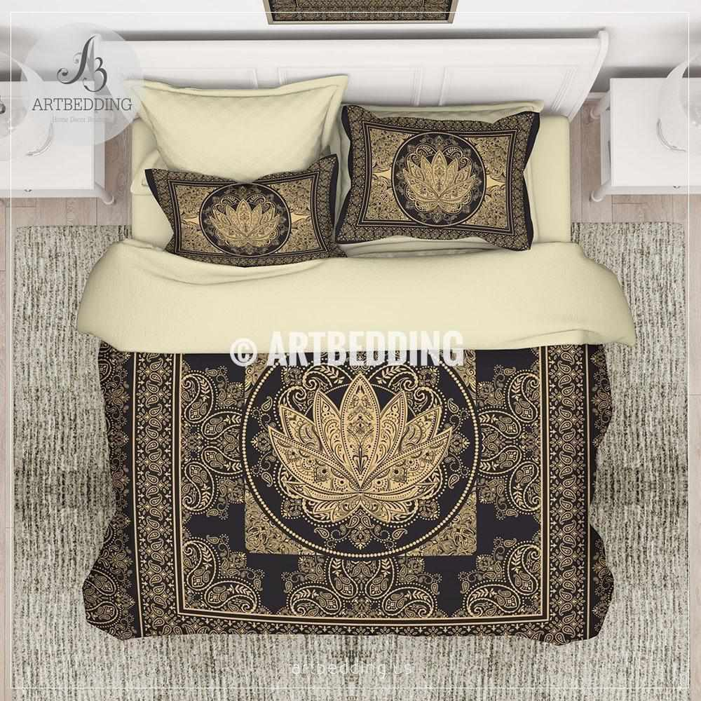 Boho black and gold Lotus bedding,Sacred lotus bedroom, Boemian lotus dorm room comforter set, bohemian spiritual art bedroom decor Bedding set