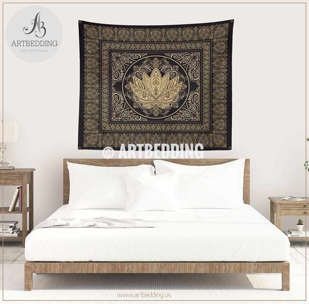 ... Boho Black And Gold Lotus Bedding,Sacred Lotus Bedroom, Boemian Lotus  Dorm Room Comforter