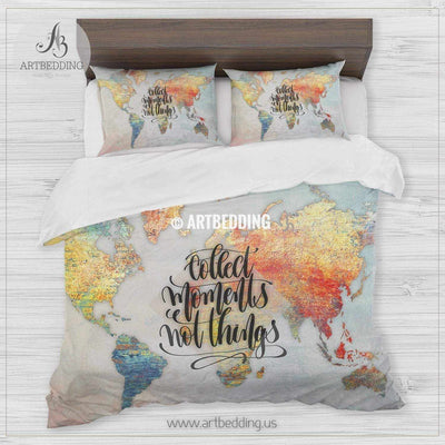 Boho brick wall world map bedding, Travel map ``Collect memories` duvet cover set, Modern wanderlust map comforter set Bedding set