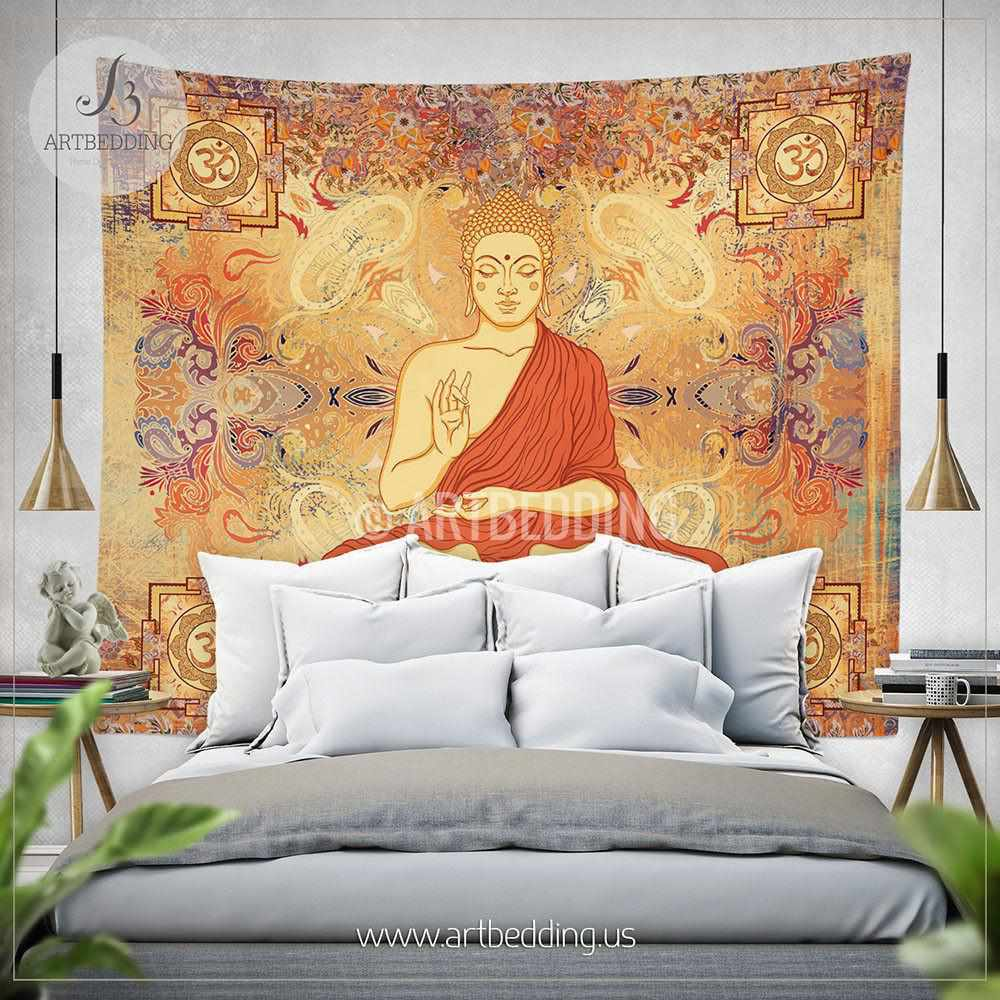 Boho budha Tapestry, Sacred Yantra wall tapestry, Hippie tapestry wall hanging, Om sacred symbol art wall tapestry, Spiritual bohemian decor Tapestry